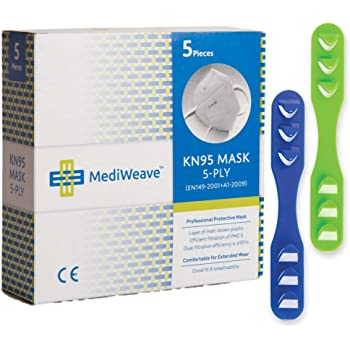 Mediweave Premium KN95 Face Mask 5-Ply, CE Certified (Pack of 5 with 2 Mask Extender)
