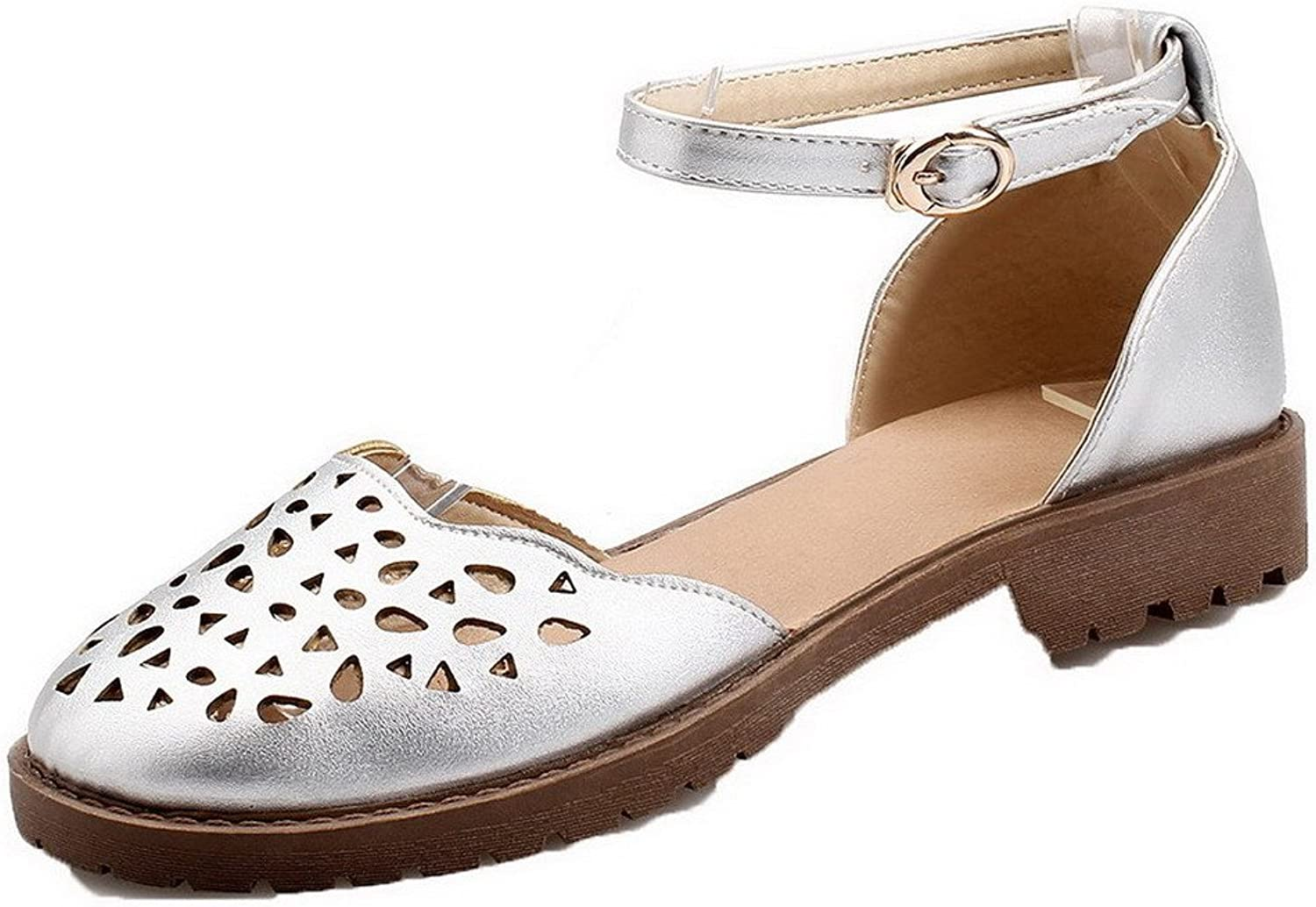 WeiPoot Women's Solid Pu Low-Heels Closed Toe Sandals