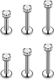 x 3 mm 1//4 VOTREPIERCING Black Anodized Grade 23 Titanium Blackline Tragus//Earlob Ring w//Two Spikes Piercing Jewel 1.2 x 6