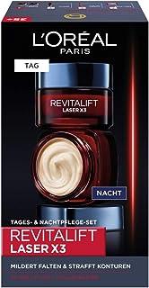 L'Oréal Paris Gesichtspflege Set, Revitalift Laser X3, Anti-Aging Tagespflege und Nachtpflege mit 3-fach Wirkung, Mit Hyal...