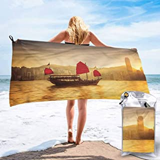 "Ahuimin Microfiber Beach Towel, Sailboat Nautical,Hong Kong Skyline, 27.5"" x 55"" Super Absorbent Lightweight Microfiber Bath Towels for Travel Pool Gym"