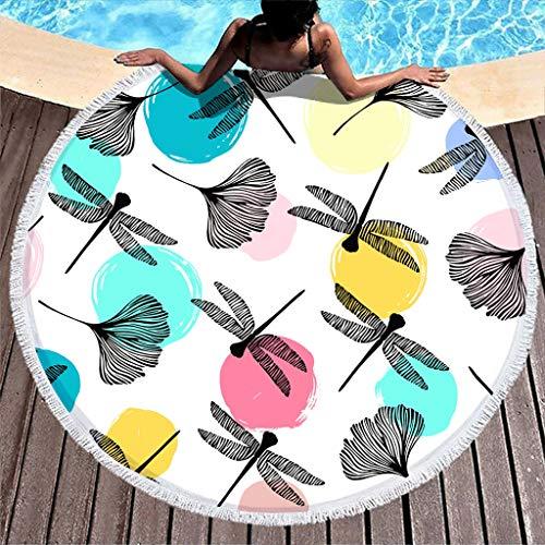 VEED Asciugamano da Spiaggia Rotondo Coperte Dragonfly Dots Asciugamano da Yoga in Microfibra Superior con Nappe Compatto per Asciugamano da Campeggio Sport Taglia Unica Bianca