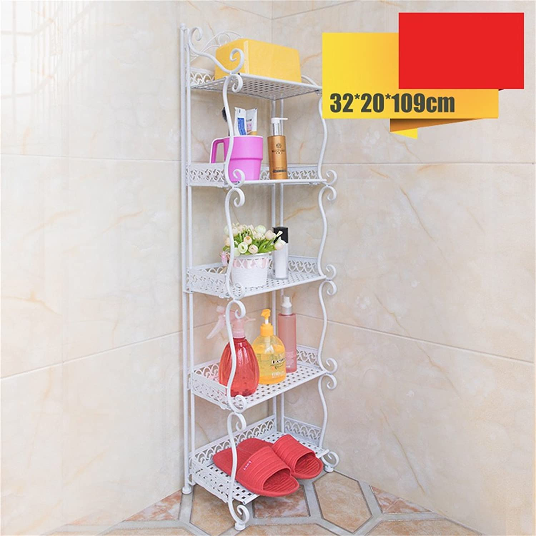 Cqq Shelf Bathroom Shelf Iron Art Floorstanding Bathroom Storage Finishing Rack Washbasin Stand Bathroom Angle Frame Triangle Racks (color   White, Size   32  109cm)