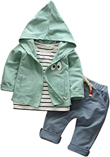 ❤️Mealeaf❤️ Baby Boys and Girls Clothes with Toddler Kid Baby Girls Boys Outfits Stripe T-Shirt+Hooded Coat+Pants Clothes Set (2-3 Years Old, Green)