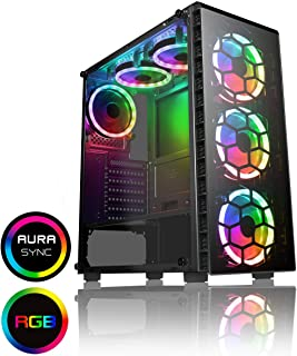 CiT Raider PC Gaming Case, Mid-Tower ATX, 6 x Halo Dual - Ring Spectrum Fans, RGB, PCB Hub w/Aura Connectivity, RF Controller, MB Sync, Tempered Glass, for a Great Gaming Experience | Black