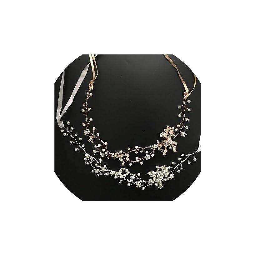Rose Gold Crystal Rhinestone Pearls Wedding Hair accessories Hair Vine Hairband Bridal Headband Bridesmaids Jewelry,Silver