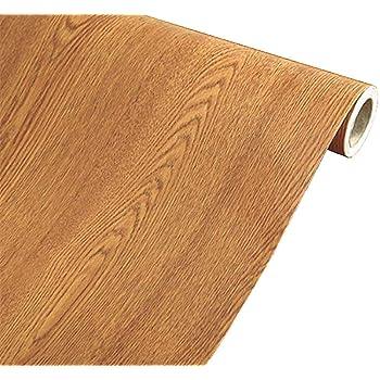 MULLSAN Brown Wood Grain Paper Waterproof Self Adhesive Shelf Liner Dresser Drawer Cabinet Sticker Winged Wood 24inch by 118inch