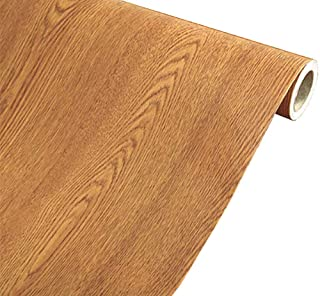 MULLSAN Brown Wood Grain Paper Waterproof Self Adhesive Shelf Liner Dresser Drawer Cabinet Sticker Winged Wood 24inch by 118inch