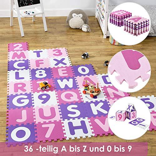 Juskys Kinder Puzzlematte Juna 36 Teile mit Buchstaben & Zahlen | rutschfest & abwischbar | Mädchen ab 10 Monate | Eva Schaumstoff | Spielmatte Spielteppich
