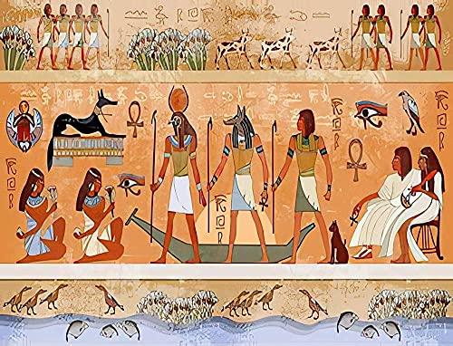YYTTLL Rompecabezas 1000 Piezas Rompecabezas para Adultos Ni?os Egipcio Antiguo Egipto Escena Mitología Tallas Jeroglíficas Madera Grandes Piezas Juegos Amigo Adulto