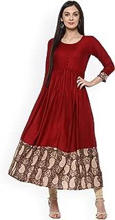 Women Dress Kurti White & Red Printed Anarkali Kurta