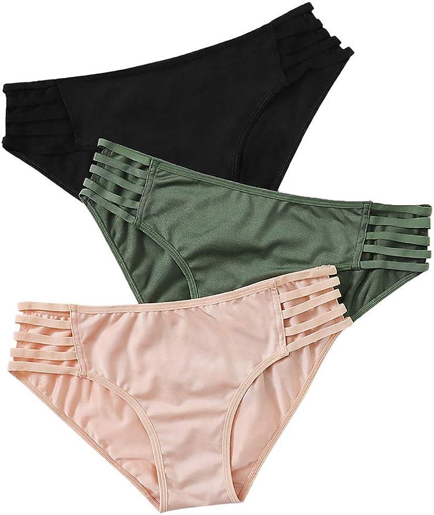 3PC Women Lace Underwear G-String Thongs, Sexy Low Rise Criss Cross Panties Bikini Briefs Lingerie Underpants