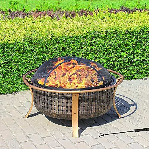 CRZJ Feuerstelle im Freien, große, Elegante Garten & Terrasse Heizung, Feuerstelle und Grill - Kupfer-Finish