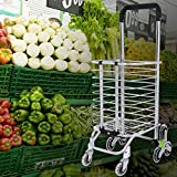 Abhsant Portable Folding Stair Shopping Cart, Aluminum Stair Climbing Grocery Transit Utility Cart