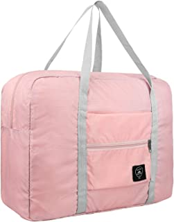 Travel Foldable Duffel Bag for Women & Men, Waterproof Lightweight Travel Luggage Bag for Travel, Sports and Gym - Pink