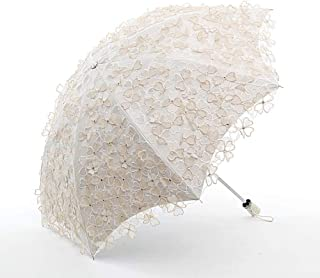 Sun Protection Sun Umbrella Lace Embroidery Princess Umbrella Two Folding Umbrella UV Protection Black Plastic Umbrella Black 8 Bone zhengpingpai (Color : White)