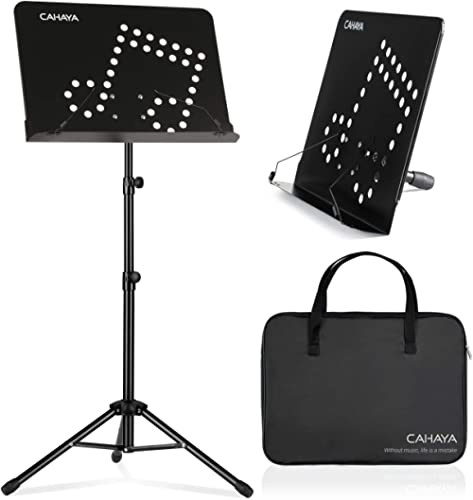 CAHAYA 2 in 1 Dual Use Sheet Music Stand & Desktop Books Stand with Carrying Bag Foldable Tripod Portable Sturdy for ...