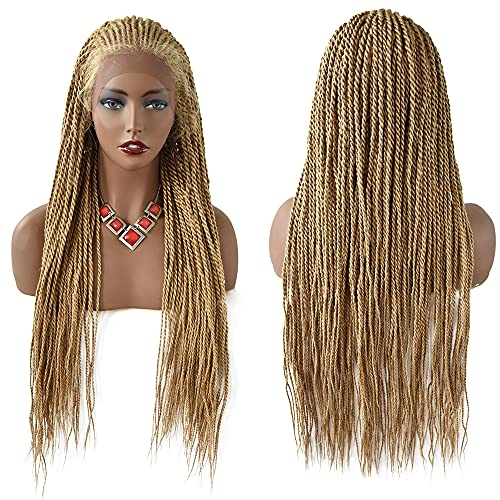 LYRICAL HAIR Afro Box Braided Wig Swiss Lace Front Updo Bun Cornrow Dutch Micro Twist Baby Hair Kanekalon Gluless Full Cap Women Lace Braids Wig (LL30115EC, #27/613M Blonde)