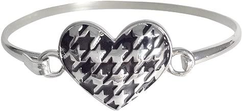 Gypsy Jewels Houndstooth Print Silver Tone Wire Hook Bangle Bracelet Roll Tide Pride