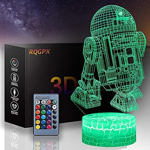 Luz de noche para niños Star Wars 3D ilusión lámpara R2-D2 A con control remoto, decoración de dormitorio personalizada creativa regalo de cumpleaños para niños y niñas
