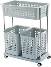 JYKJ 2-layer Rolling Storage Basket With Wheels Rolling Racks Trolley Laundry Classification Car Rack Floor Basket Large Capacity Dirty Clothes Basket Storage Cabinet, Multi-function Household Storage
