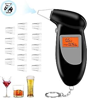 O-Kinee Alcoholimetros, Probador de Alcohol Portátil con Pantalla LCD Sensor de Semiconductores, Profesional Alcoholímetro Digital con 15 Boquillas (Negro)