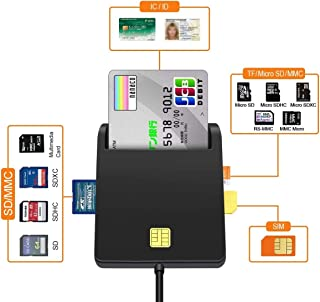 Smart Card Reader- USB SD/Micro SD(TF) Card Reader - DOD Military USB Common Access CAC Card Adapter/ID Card/SIM/IC Bank Chip Card(e-Tax) Multi-Function Compatible with Windows XP/Vista/Mac OS/Linux