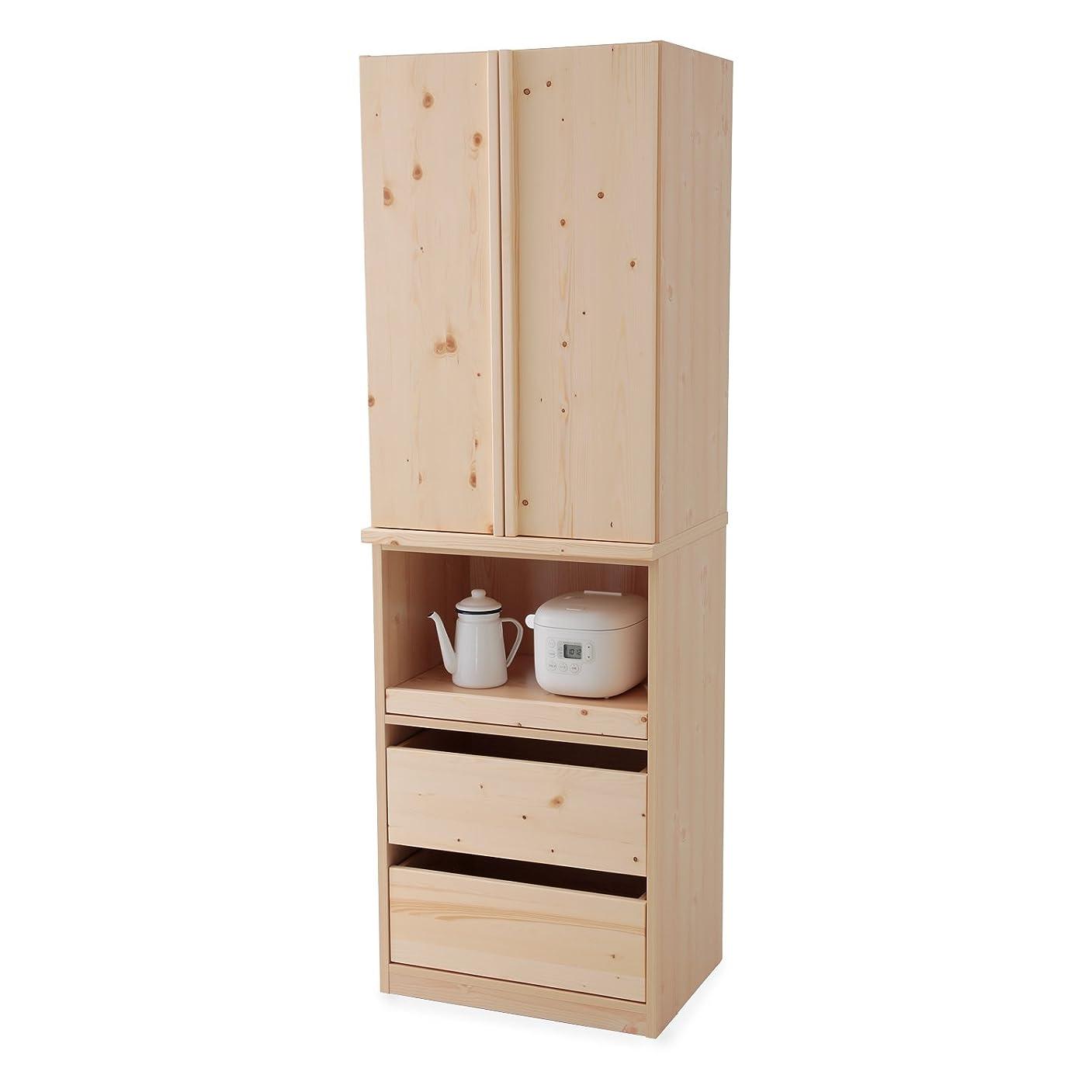 ハプニングゲートウェイ中古LOWYA 食器棚 キッチンボード 木目 半完成品 幅60cm おしゃれ ナチュラル