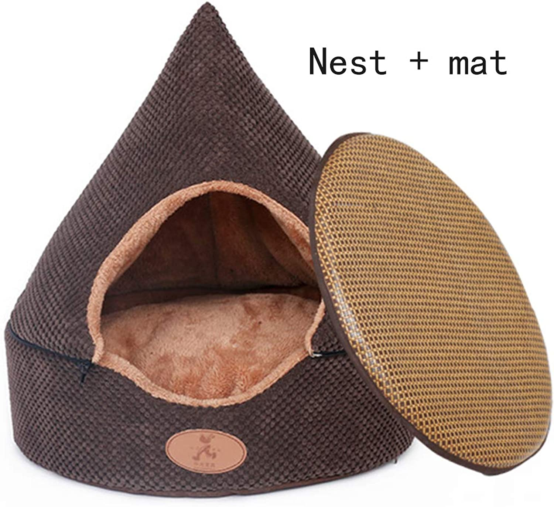 Detachable Pet Cave Tent, Warm Cat Bed House Yurt Kennel Cave Nest Soft Dog Bed Cozy Lounge Sofa Mat for Pets, Four Seasons,Nest+Mat,S