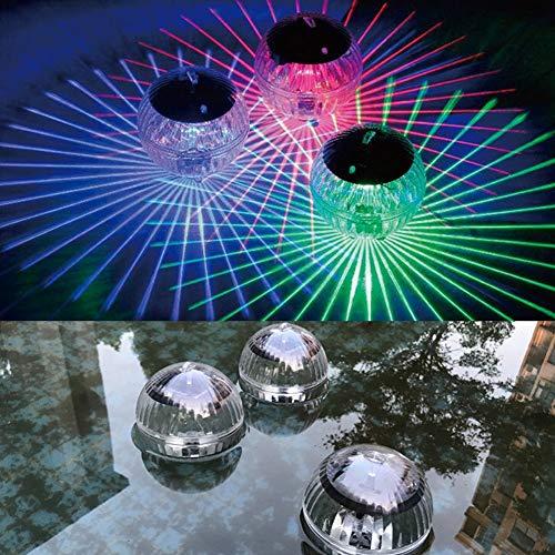 wosume Lumière de Piscine Solaire, lumière de décoration de Lampe à Boule Flottante à énergie Solaire imperméable Multicolore pour Piscine, étang, Baignoire ou décorations de fête