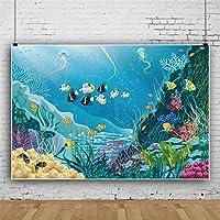 Qinunipoto 写真撮影用 漫画 背景布 撮影用 布 写真 背景 撮影 写真の背景 子供の写真 子供用 サンゴ 魚の群れ 海草 青い海の水 水中の世界 背景ポスター 撮影小道具 装飾用 無反射布 撮影用背景 ビニール 1.5x1m