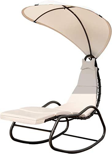 lowest Giantex Chaise Lounge Swing Chair, Outdoor Hammock with Stand and discount Canopy, Porch Swing w/ Soft Cushion Removable Headrest, 2021 Outdoor Recliner Rocking Chair for Garden Backyard Poolside (White) online sale