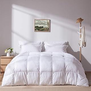 WARFFET White Down Alternative Comforter Queen All Season, Soft Duvet Insert Hypoallergenic Plush Stripe Comforter, Lightw...