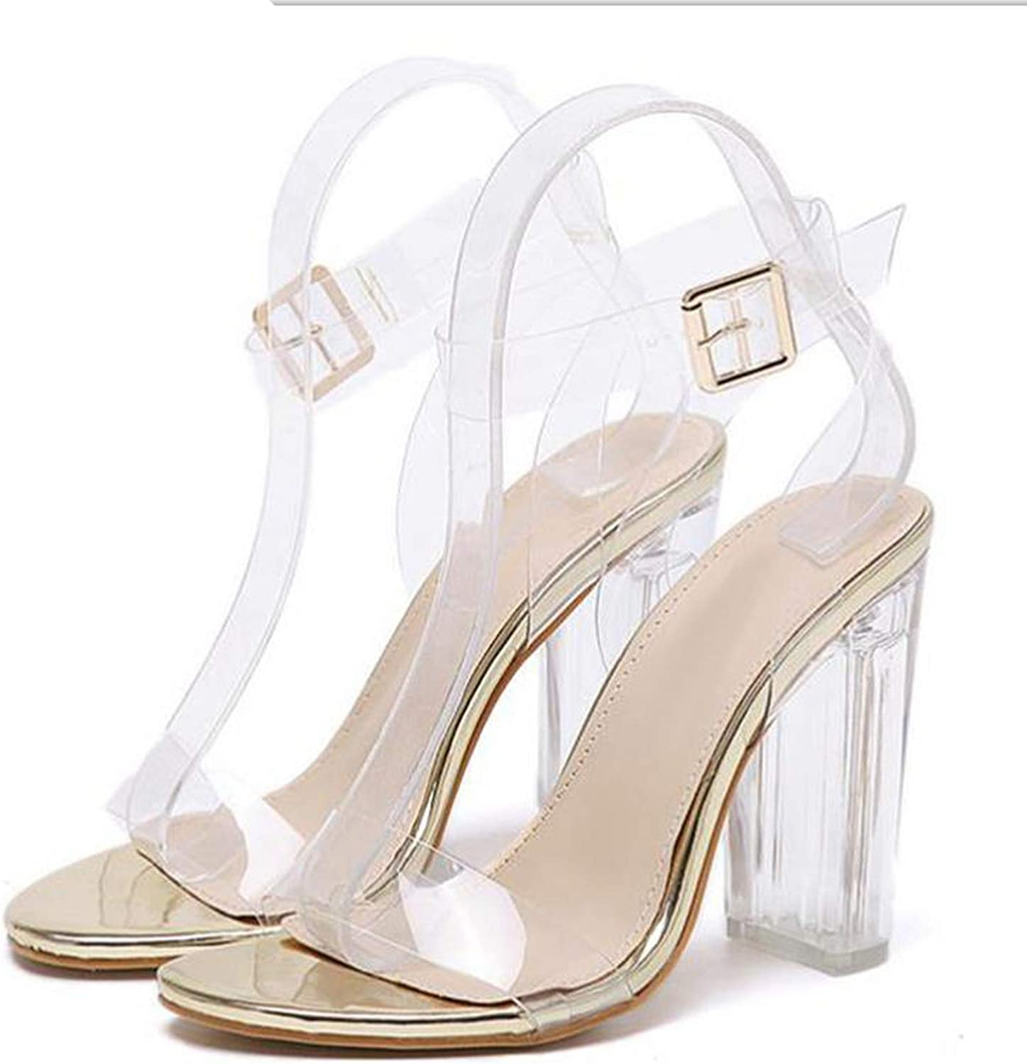 PVC Women Sandals Sexy Clear Transparent Buckle Strap High Heels shoes,golden,4