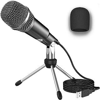 NIERBO Micrófono USB 2.0 Ideal para videollamadas o clases online, Micrófono de Condensador USB Plug & Play Home Studio pa...
