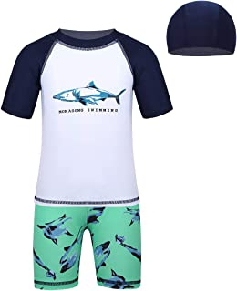 YiZYiF Baby Jungen Badebekleidung Badekappe Schwimmbekleidung Bademode mit Hai//Wal Muster Badeanzug UV-Schutz Bade-Set