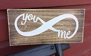 Rustic Wood Sign You and Me Infinity Welcome Farmhouse Home Decor Couple Love