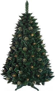 DWA ARBOL Navidad Grande Pino de Oro con Cristales, Caja, Bosque Tradicional Verde Lujo con Soporte - 180cm - Gold Pine