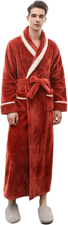 ZumZup Women's Men's Bathrobe Full Length Dressing Gowns Coral Fleece Thickened Housecoat Sleepwear