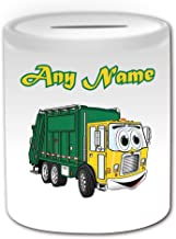 Personalised Gift UK Fire Engine Money Box - Any Name // Message on Your Unique Transport Design Theme, White Truck Vehicle Fireman Fighter Emergency Services 999 Driver Automobile Apparatus Appliance Firefighting Firefighter Saving Piggy Bank