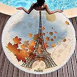 BCDJYFL Secado Rápido Toalla De Playa Torre Laken Paris Impresa con Patrón 3D HD De Manta Lavable Adecuada para Playa Picnic Yoga Parque Infantil Familia.-Diámetro: 150Cm