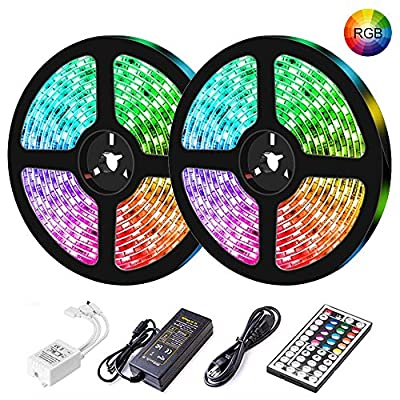 LED Strip Lights, Starlotus 32.8ft/10M RGB Color Changing Led Light Strip,300Leds Waterproof Flexible Led Tape Light with 44 Keys IR Remote Controller and Power Supply,Ideal for Home and Holiday Decor