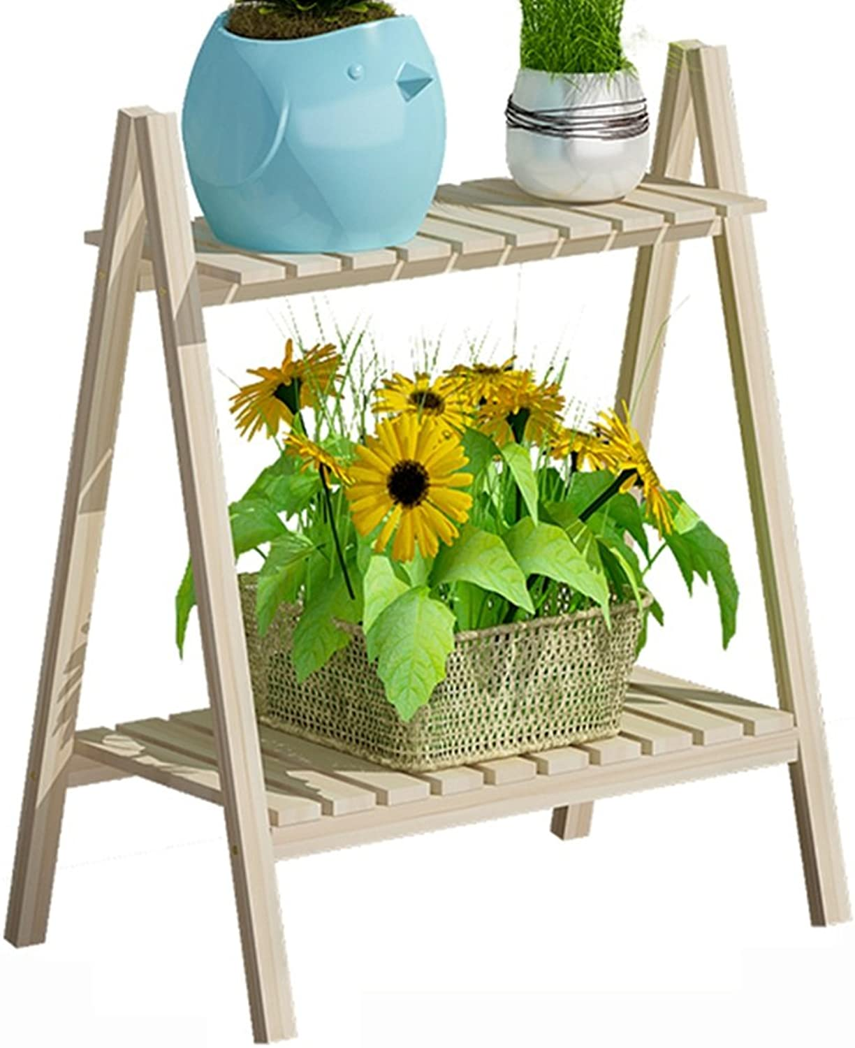 ZZHF yushizhiwujia Storage Racks Floor Type Solid Wood Flower Stand Living Room Balcony Garden Multilayer Folding Flowerpot Rack (Size   59  30  50.5CM)