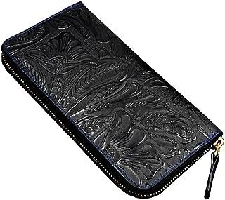 [ディープ] 牛革 カービング 型押し 長財布 ラウンドファスナー D-1003