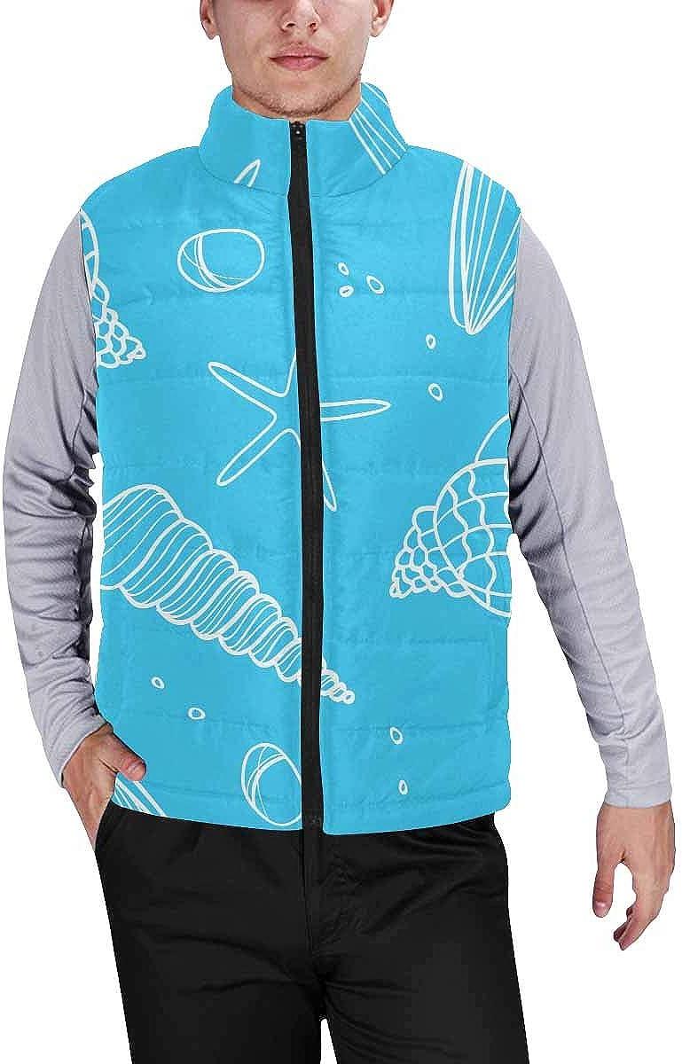 InterestPrint Warm Outdoor Sleeveless Stand Collar Vest for Men Night Sky Sun Moon