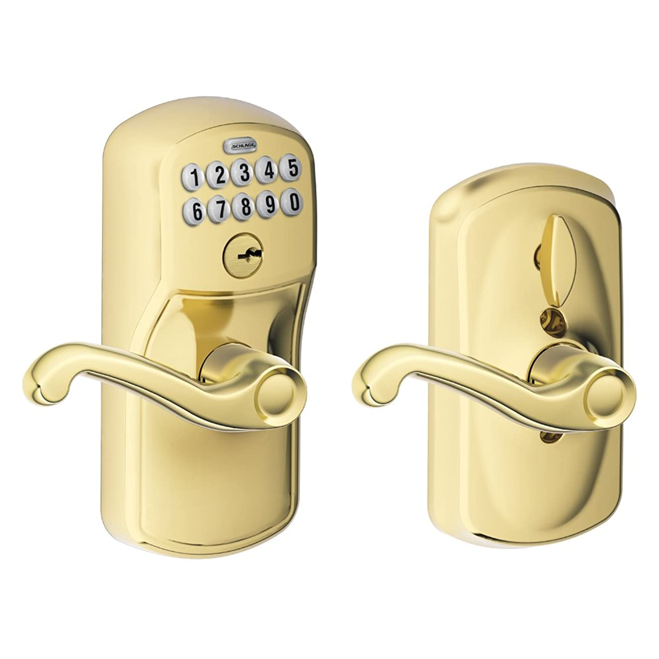 Schlage FE595 V PLY 505 FLA Plymouth Keypad Entry with Flex-Lock and Flair Style Levers, Bright Brass