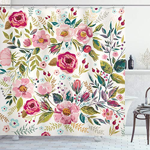 """Ambesonne Floral Shower Curtain, Shabby Form Flowers Roses Petals Dots Leaves Buds Spring Season Theme Image, Cloth Fabric Bathroom Decor Set with Hooks, 70"""" Long, Magenta"""