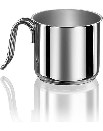 Mini pentola per burro e latte con manico corto colore: argento 60 ml in acciaio INOX Fuyamp con bocca
