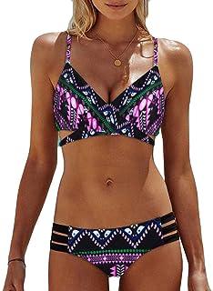 comprar comparacion LANSKIRT_Bikinis Bikini Mujer Push Up Lanskirt Mujeres Conjunto de Traje de BañO Estampado Bohemio BañAdores con Relleno T...