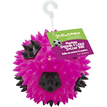 """Gnawsome 3.5"""" Squeak & Light Soccer Ball Dog Toy - Medium, Cleans Teeth and Promotes Dental and Gum Health for Your Pet, Colors Will Vary"""